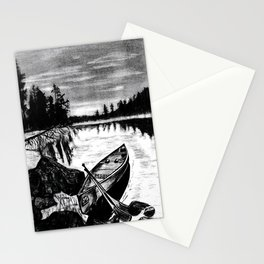 'Evening Row' Original Wall Decor, Canoe Lake Art Drawing Stationery Cards