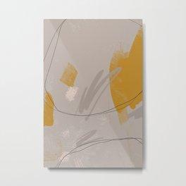 Abstract Line On Grey Metal Print