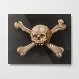 A memento mori with skull and crossbones - Jolly Roger Pirates - Napolitan school, 17th century Metal Print