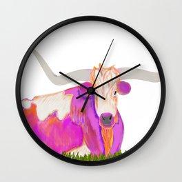 Pink Longhorn Wall Clock