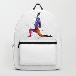 Yoga woman in watercolor splatter 01 Backpack