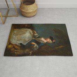 """Antoine Watteau """"Retour de Chasse: Portrait of Marie-Louise Sirois"""" Rug"""