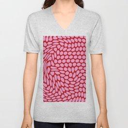 Dots Pink Red Unisex V-Neck