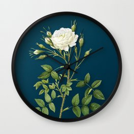 Vintage Flower White Rose of Rosenberg Botanical on Teal Wall Clock