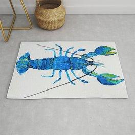 Blue Lobster Wall Art, Lobster Bathroom Decor, Lobster Crustacean Marine Biology Rug