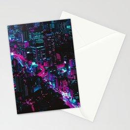 Cyberpunk Vaporwave City Stationery Cards