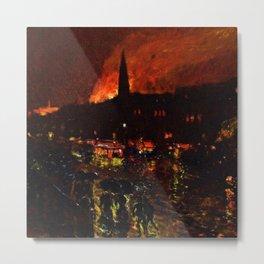 Classical Masterpiece 'Alarm Firelight - Boston' by Frederick Childe Hassam Metal Print