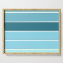 Aqua Turquoise Teal Stripes Serving Tray