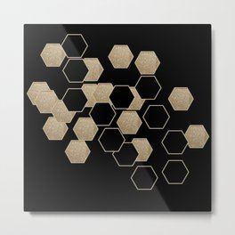 contemporary preppy scandinavian minimalist Black and gold hexagon Metal Print