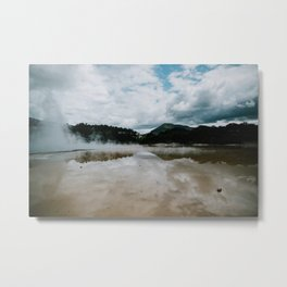 New-Zealand, Rotorua - Wai-O-Tapu park - Sulphur lake & mountains Metal Print