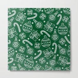 Christmas Doodle Pattern Metal Print