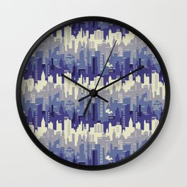 Amethyst abstract city ladscape Wall Clock