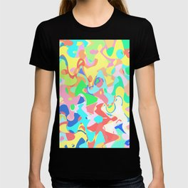 Chaotic vision, vibrant colors and shapes, funny mess T-shirt