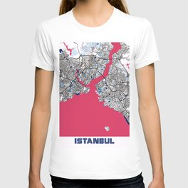 Istanbul - Turkey MilkTea City Map T-shirt