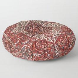 Persian Bakhtiari Old Century Authentic Colorful Deep Dark Red Tan Vintage Patterns Floor Pillow