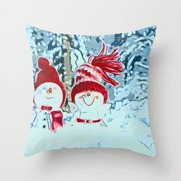 Snowman walk Throw Pillow