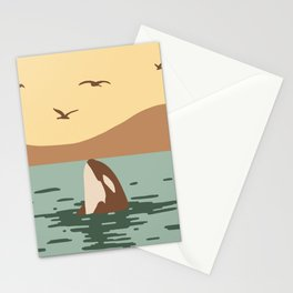 Orca Killer whale art Stationery Cards
