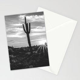 Saguaro Sunrise // Black and White Arizona Desert Landscape Photography Cactus Sun Rays Stationery Cards