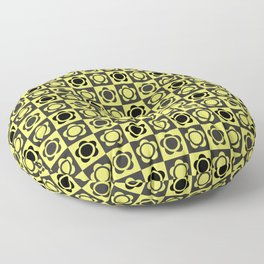 RETRO FLOWER - YELLOW AND BLACK Floor Pillow
