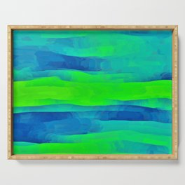 Lime Green & Blue Stripes Abstract Serving Tray