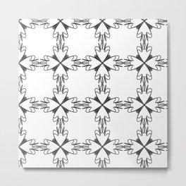 Pattern black white floral Metal Print