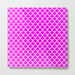 Scales (White & Magenta Pattern) Metal Print