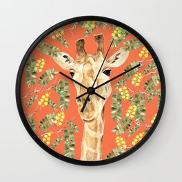 Giraffe and Acacia Wall Clock