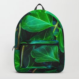 green ivy leaves plant closeup texture background Backpack