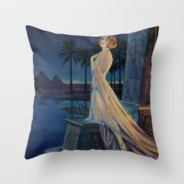 Melody of Ancient Egypt Art Deco romantic female figure by the River Nile painting by Henry Clive Throw Pillow