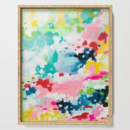 Colorful Fantasy Neon Rainbow Abstract Art Acrylic Painting Fluffy Pastel Clouds by Ejaaz Haniff Serving Tray