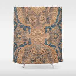 Persian Motif I // 17th Century Ornate Rose Gold Silver Royal Blue Yellow Flowery Accent Rug Pattern Shower Curtain