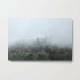 Foggy Forest Blue Mist in the Morning | Landscape Photography Metal Print