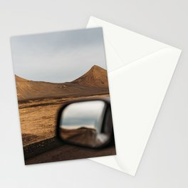 View of red mountains through a car window in north Iceland Stationery Cards