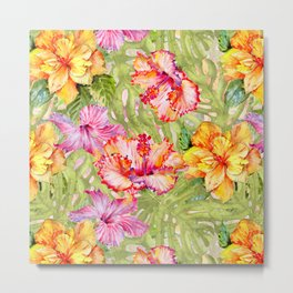 Tropical Summer Sun Colorful Hibiscus Metal Print