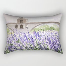 Lavenders Field and Bridge in Avignon Rectangular Pillow