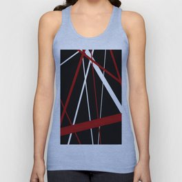 Red and White Stripes on A Black Background Unisex Tank Top