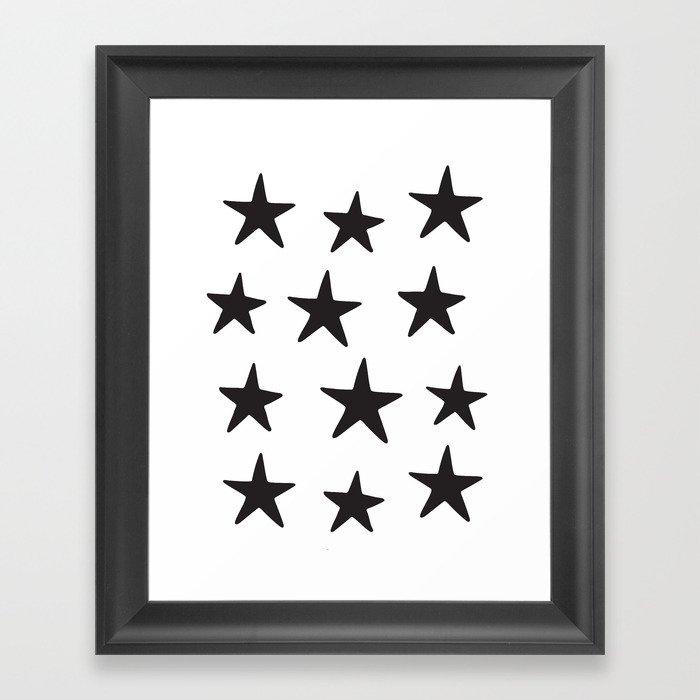 Star Pattern Black On White Gerahmter Kunstdruck