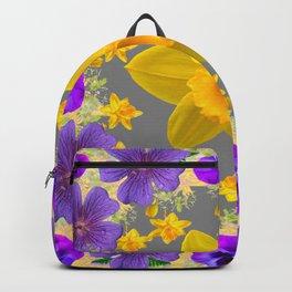 SPRING PURPLE  FLOWERS DAFFODIL ART DESIGN Backpack