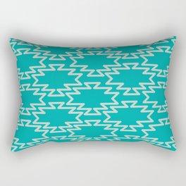 Southwest Azteca - Southwestern Geometric Pattern in Aqua Turquoise Rectangular Pillow