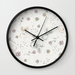Pastel easter eggs and bunnys I Wall Clock