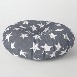 Linocut Stars - Navy & White Floor Pillow