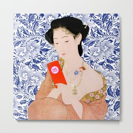 confused timeline with japanese lady Metal Print