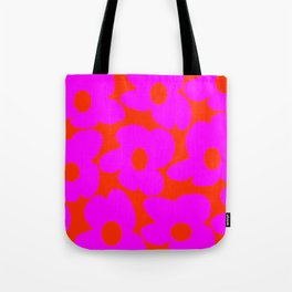 Pink Retro Flowers Orange Red Background #decor #society6 #buyart Tote Bag