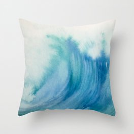 Watercolor Wave Throw Pillow