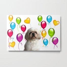 Paul Top Model - Shih tzu dog - Colorful Balloons Metal Print
