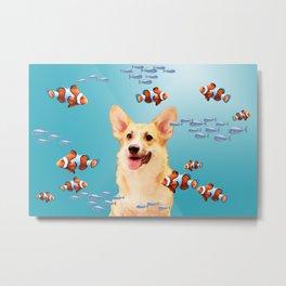 Corgi Dog Clownfishes Fantasy Collage Metal Print