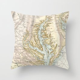 Vintage Map of The Chesapeake Bay(1778) 2 Throw Pillow