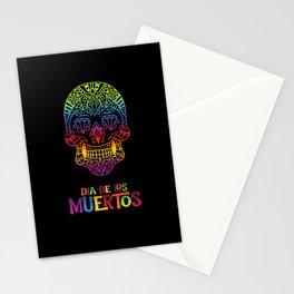 Colored sugar skull day of dead dia de los muertos Stationery Cards