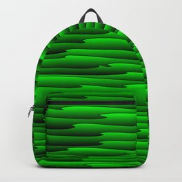 Curved volumetric doodle of art waves and green lines. Backpack