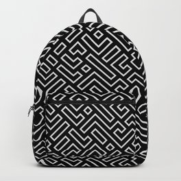 Black and White Geeky Chic Geometric Shapes Pattern Backpack